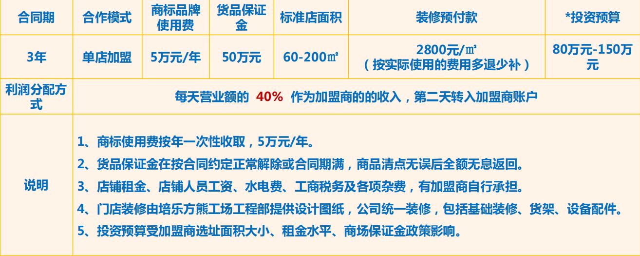 培乐方丨熊工场加盟费用